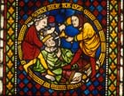 Martyrdom of St Leodegar, 13th century stained glass panel, Freiburg Munster, Germany