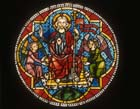 Ascension, 14th century stained glass roundel from Freiburg Munster, now in Freiburg Museum, Germany