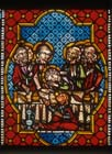Judas at the last supper, detail from 14th stained glass, Passion window, Freiburg Munster, Germany