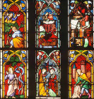 Six panels in Bible window of which 3 are fourteenth century  and 3 nineteenth century, Frauenkirche, Esslingen, Germany