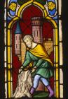 Gideon and the fleece, 19th century stained glass, Frauenkirche, Esslingen, Germany