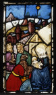 Adoration of the Magi panel in the Besserer Chapel, Ulm, Germany, 15th century stained glass