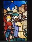 Betrayal, 15th century stained glass by Hans Acker, Besserer Chapel, Ulm Cathedral, Germany