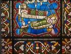St Kunibert and King Dagobert, 13th century stained glass, Kunibert window, Church of St Kunibert, Cologne, Germany
