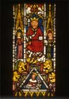 Solomon on his golden throne with golden lions, stained glass 1360-70, Munster Landesmuseum, Germany