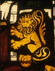 Detail of lion from throne of Solomon, 1360-70 stained glass,  Munster Landesmuseum, Germany