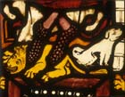 Lion and dog, detail from Solomon panel, 1360-70 stained glass, Munster Landesmuseum, Germany