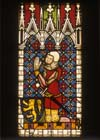 Kneeling knight, 14th century stained glass, Munster Landesmuseum, Germany
