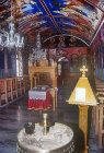 Limona Monastery founded 1523 by St Ignatius, interior with shrine and lectern, Lesbos, Greece