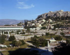 Greece Athens the Athenian Agora on the left, Stoa of Attalus and the Acropolis top right