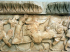 Greece Delphi detail of frieze from the Siphnian Treasury  Godess Cybele in her Chariot in the battle of the gods and giants 525 BC