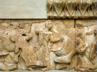 Greece Delphi Siphnian Treasury north frieze Hera and Athene fighting Giants Verectas and Laertas 525 BC