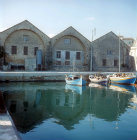 Venetian arsenal at old harbour, Chania, Crete, Greece