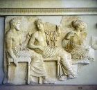 Greece Athens Parthenon Frieze, Acropolis Museum, the gods Poseidon, Apollo and Artemis