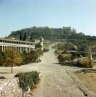 Greece Athens the Athenian Agora Stoa of Attalus on the left and the Acropolis beyond