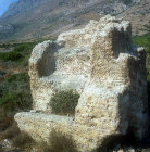 Phalasarna, the so-called throne, ancient Greek harbour town, built 333 BC, Crete, Greece