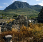 Greece Corinth view of Acrocorinth across ruins