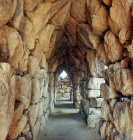 East gallery showing the corbelled roof, Mycenaean fortress, Tiryns, Greece