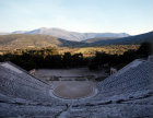 Greece Epidaurus the Theatre at Dawn built by Polycleitos the younger 4th century BC