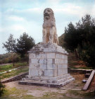Lion of Chaeronea erected as memorial to the Sacred Band of Thebans, wiped out in battle of Chaeronea 338 BC, by Philip II of Macedon, Sparta, Greece