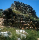 Cyclopean walls, 1350-1250, the lower part of which supports the ramp to the gatehouse, Mycenaean fortress, Tiryns, Greece