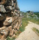 Cyclopean walls, 1350-1250 BC, flanking the ramp which leads up to main gatehouse, Mycenaean fortress, Tiryns, Greece