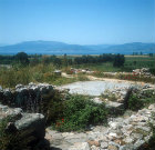 Megaron Court and altar looking south towards the sea, Mycenaean fortress, Tiryns, Greece