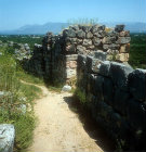 Wall and gatehouse entrance east side of Acropolis, 1350-1250 BC, Mycenaean fortress, Tiryns, Greece
