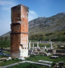 Square stone pillar of sixth century basilica, Philippi, Greece