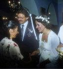 Cretan civil wedding, couple being presented with gift money, Crete, Greece