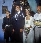 Cretan civil wedding, couple with gift money, Crete, Greece