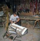 Greek boy making saddle, Kato Figalia, Arcadia, Greece