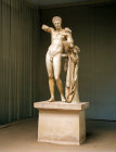 Hermes with the infant Dionysus a statue by Praxiteles now in the Museum at Olympia Greece