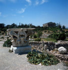 Greece Athens the Temple of Hephaistos or Theseion 5th century BC and Corinthian Capital in the Athenian Agora