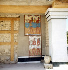 Greece, Crete, Knossos, two frescoes in the south Propylon