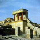Greece, Crete, Knossos, Palace of Minos, Bull Verandah and pillars