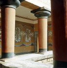 Greece, Crete, Knossos, Palace of Minos, Verandah of the Royal Guard