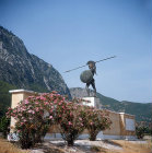 Monument to Leonidas and Spartan warriors commemorating death in battle against army of Xerxes, 480 BC, Thermopylae, Greece