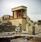 Greece, Crete, Knossos, the Bull Portico and the pillars of the Hypostyle room