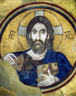 Christ Pantocrator, eleventh century, in dome of church of Daphni Monastery, Greece