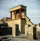 Greece, Crete, Knossos, Bull Verandah and Pillars of the Hypostyle Room