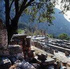 Temple of Apollo, fourth century BC, and the Pleistus Valley, Delphi, Greece