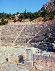 Theatre, built fourth century BC of white parnassus stone with seating for 5,000, Delphi, Greece