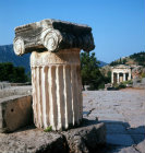 Greece Delphi Treasury of the Athenians built 490-489 BC Ionic Capital in foreground