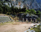 Stadium, four pillars at the entrance and the starting grid, fifth century BC, Delphi, Greece