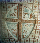 Floral cross, circa 1070, Sakli Kilise (Hidden Church), or Church of St John, Goreme, Cappadocia, Turkey