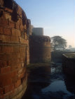 Red Fort, sixteenth century, exterior walls and moat, Agra, India