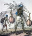 Water carriers, nineteenth century Hindustani engraving, Hindustan, India