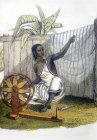 Spinner of cotton, nineteenth century Hindustani engraving, Hindustan, India
