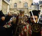 Israel, Jerusalem, Greek Orthodox Archbishop outside the Holy Sepulchre Church for Maundy Thursday